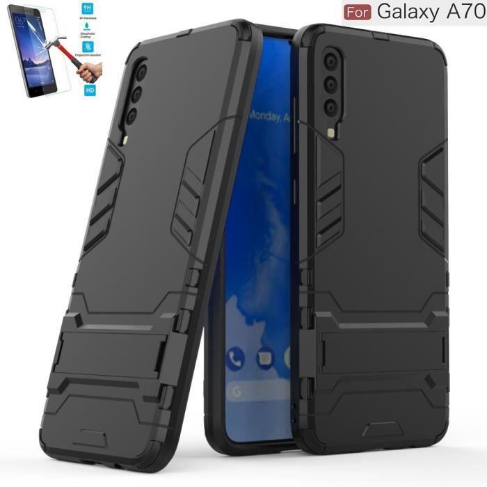 Coque Pour Samsung Galaxy A70 Anti Choc Noir + Film Verre Trempé Housse Etui Antichoc hfs-house®