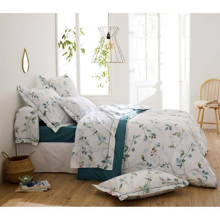 Parure de lit imprimée fleurs en aquarelle Blanc 260 x 240+2 TO 65 x 65 cm