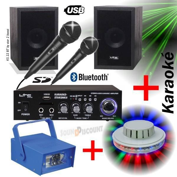 PACK LIGHT KARAOKE KS22 / STAR2 + AMPLI + ENCEINTES + MICRO + USB BLUETOOTH MP3 PA-DJ