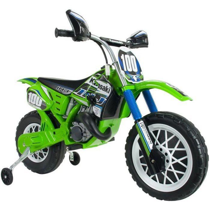 INJUSA 6775 Motocross Kawasaki à Batterie 6 V pour Enfants de 3 Ans avec Frein électrique et accélérateur sur la poignée