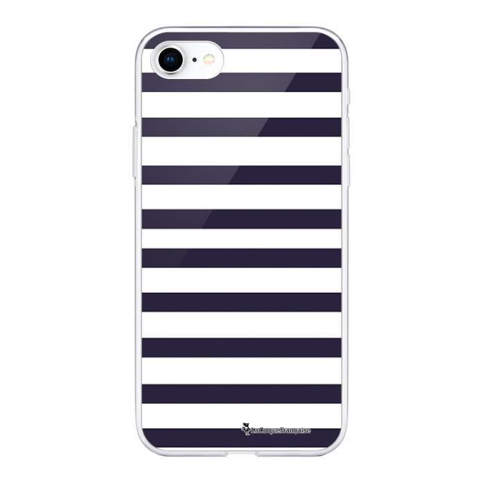 Coque iPhone 7/8 360 intégrale transparente Marinière Bleue Ecriture Tendance Design La Coque Francaise.