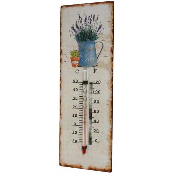 Thermomètre Mural Décoratif en Celsius et Farenheit ou à Poser Motif 'Nature Ancienne' en Fer et Papier Vernis 0,5x8x25cm