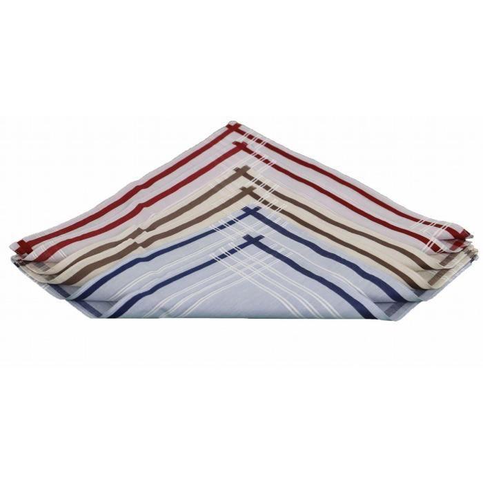 LINANDELLE - Lot de 6 mouchoirs tissu coton ROMAIN - Beige clair