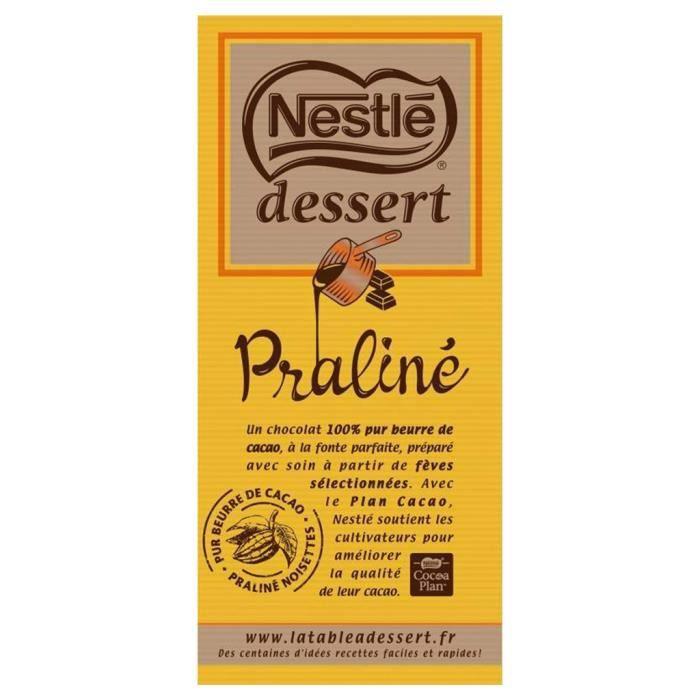 Nestlé Dessert Tablette Chocolat Praliné 170g (lot de 10 x 3 tablettess)