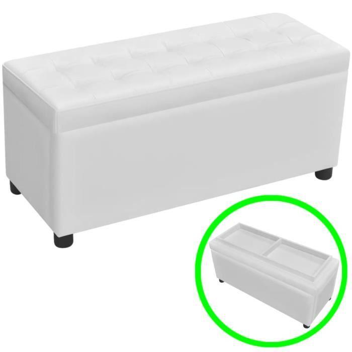 Banc coffre Pouf de rangement Cuir synthétique Blanc