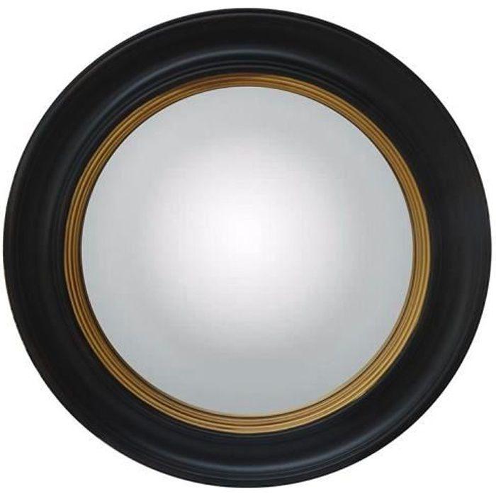Miroir sorcière FRANKLIN - bois d'eucalyptus - D.66 cm - Noir et doré effet laiton