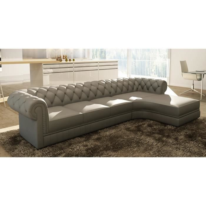 Canap d 39 angle noir capitonn chesterfield avec m ridienne achat vent - Canape chesterfield d angle ...