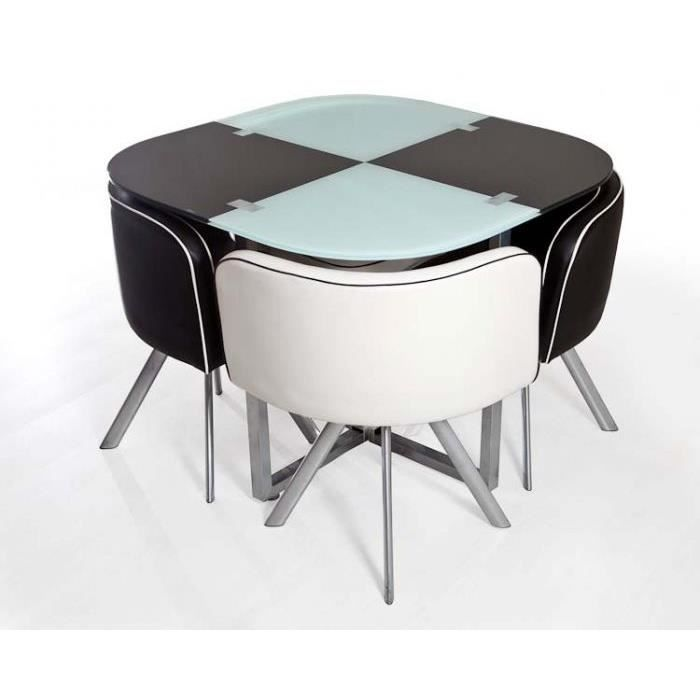table damier noir et blanc 4 chaises achat vente. Black Bedroom Furniture Sets. Home Design Ideas