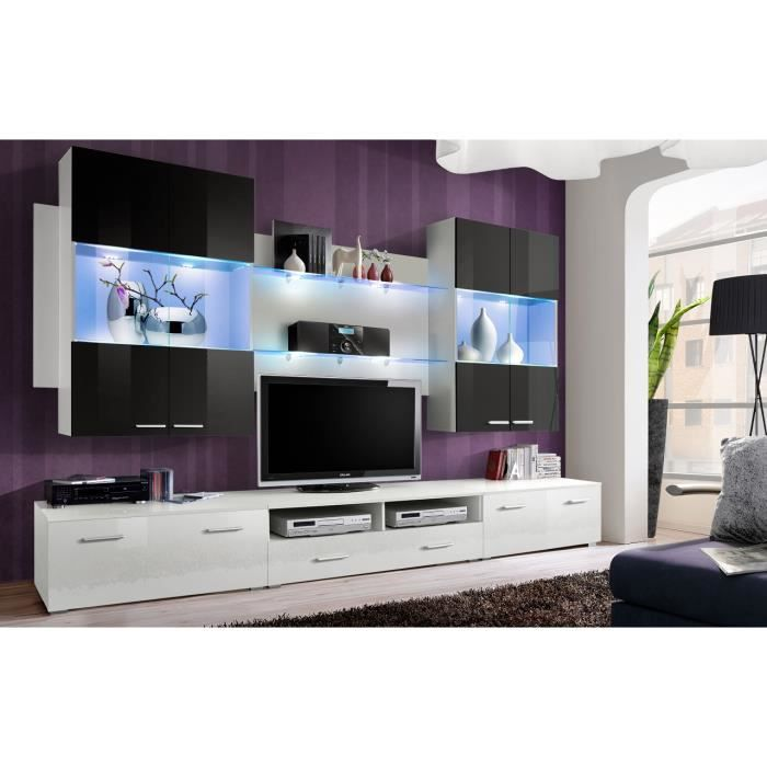 meuble de salon meuble tv design complet space blanc et. Black Bedroom Furniture Sets. Home Design Ideas