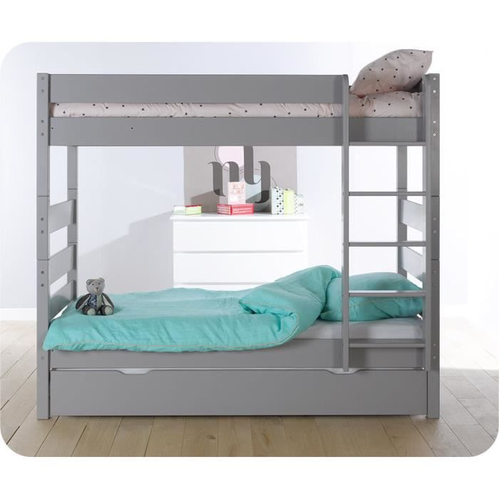 lit superpos kids gris tiksy avec sommier gigogne achat vente lits superpos s lit superpos. Black Bedroom Furniture Sets. Home Design Ideas