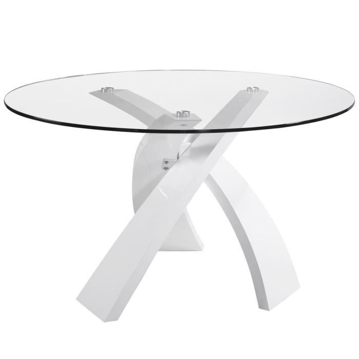 Table manger cross verre blanc laqu achat vente - Table a manger verre blanc ...