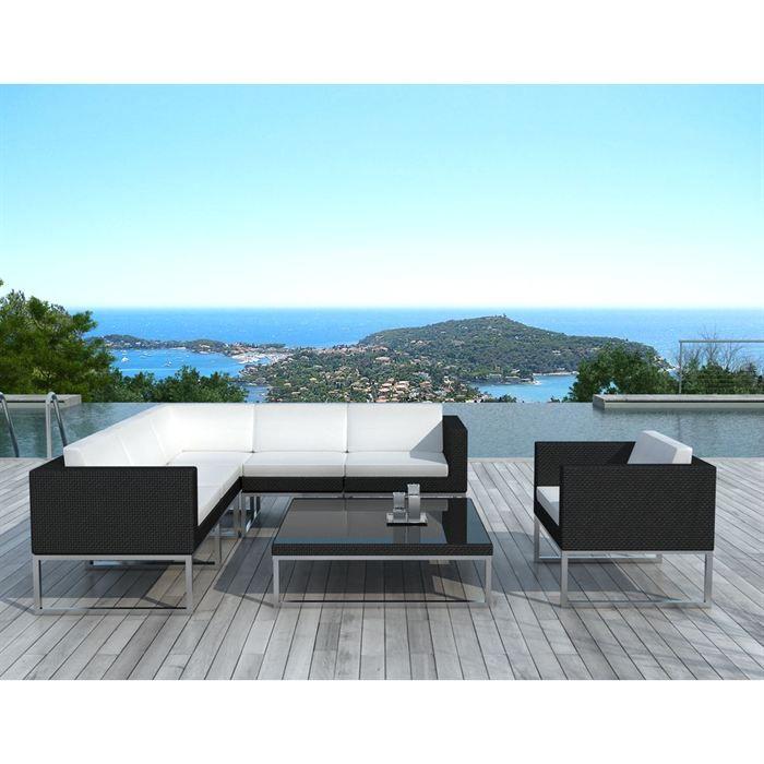 Salon de jardin Noire coussin Blanc - SD1001 - Achat / Vente ...