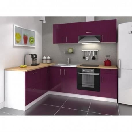 cuisine d 39 angle r versible laqu aubergine 26 achat vente cuisine compl te cuisine d. Black Bedroom Furniture Sets. Home Design Ideas
