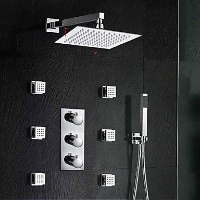 lookshop robinet de douche thermostatique avec jets d 39 eau massant et t te de douche effet. Black Bedroom Furniture Sets. Home Design Ideas