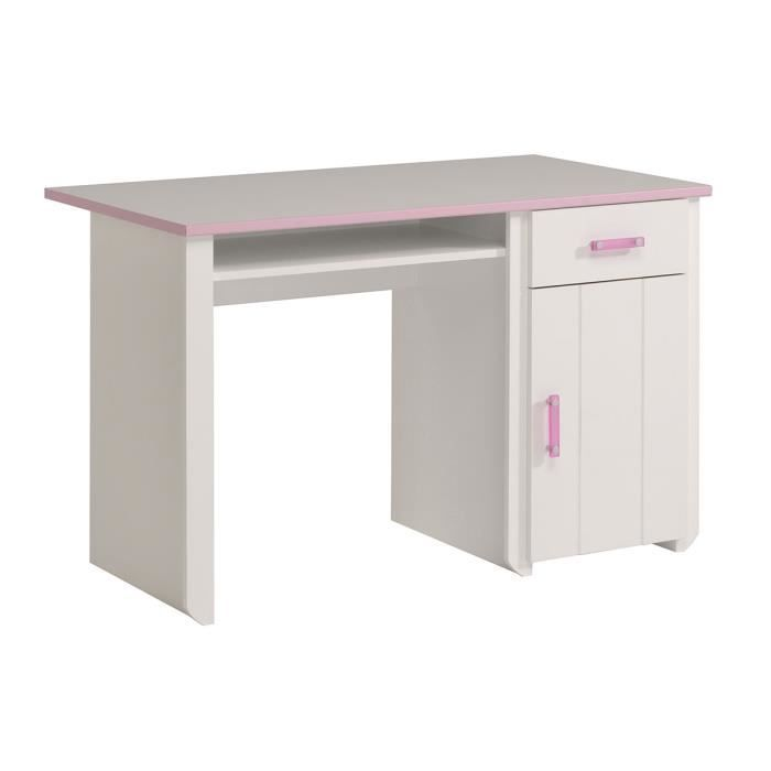 bureau enfant 1 porte 1 tiroir blanc et rose achat vente bureau b b enfant cdiscount. Black Bedroom Furniture Sets. Home Design Ideas