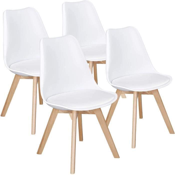 dewinner chaises salle a manger scandinaves lot de 4 blanc