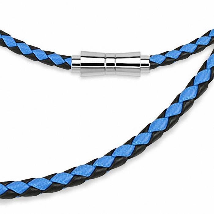 CHAINE DE COU SEULE Chaine de cou en cuir noir et bleu