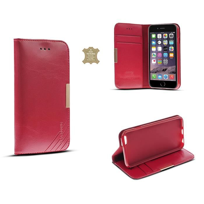 Tui portefeuille en cuir v ritable iphone 6 plus achat for Coque iphone 6 portefeuille