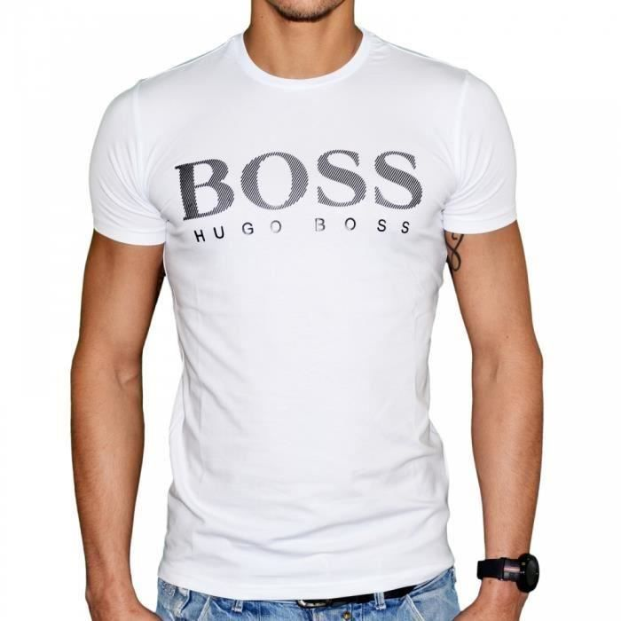 tee shirt hugo boss homme blanc manches courte blanc achat vente t shirt cdiscount. Black Bedroom Furniture Sets. Home Design Ideas