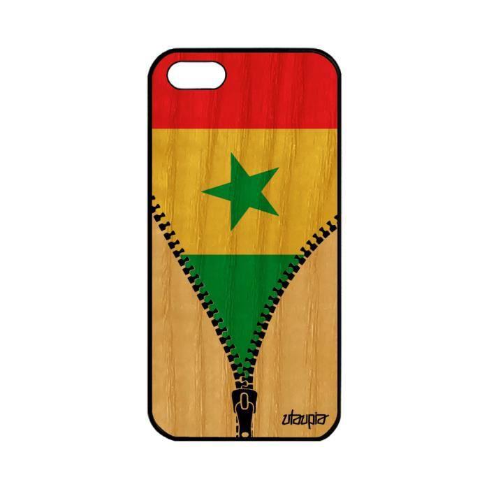 Coque iPhone 5 5S SE bois silicone drapeau senegal