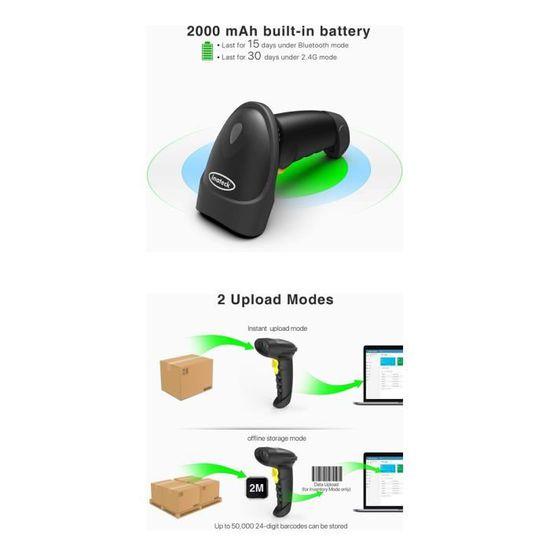 Bluetooth//cable Android 4.0 et 4.1 IOS fonctionne avec smartphone linux mac Inateck lecteur code barre sans fil douchette usb laser code barre scanner USB 2.0 bluetooth compatible Windows
