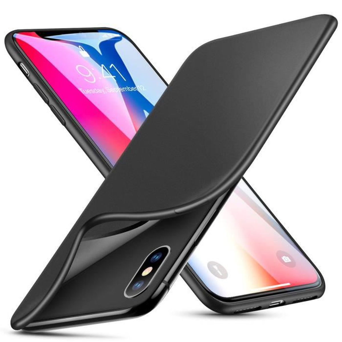 coque iphone xs silicone noir
