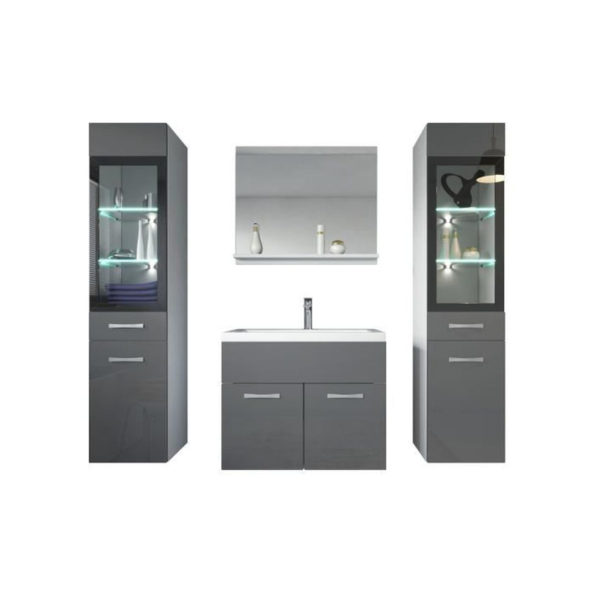 salle de bain compl te gris achat vente salle de bain. Black Bedroom Furniture Sets. Home Design Ideas