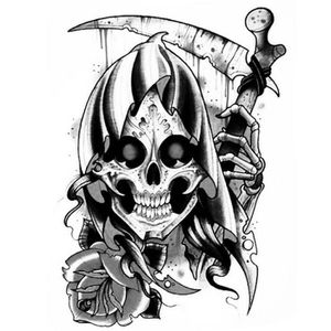 TATOO - BIJOU DE CORPS Tatouage éphémère tete de mort - La faucheuse