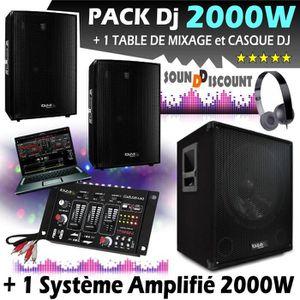 PACK SONO SONO 2000W CUBE + TABLE DE MIXAGE + CAISSON AMPLIF