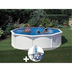 PISCINE Kit piscine acier blanc Gré Fidji ronde 4,80 x 1,2