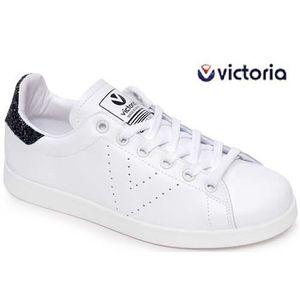 BASKET Victoria effet Stan Smith blanche et noir 112541 f
