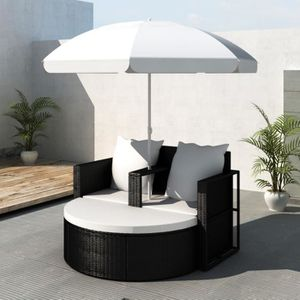 FAUTEUIL JARDIN  Canapé de 2 places rond en rotin Noir avec parasol