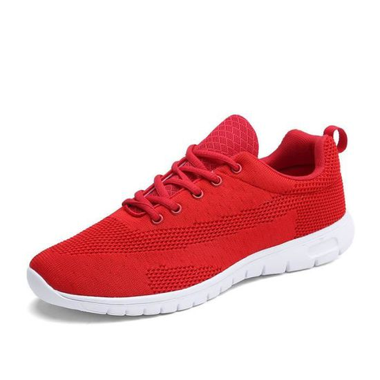 Baskets Homme Mode Respirable Running Chaussures de cours Rouge Rouge - Achat / Vente basket