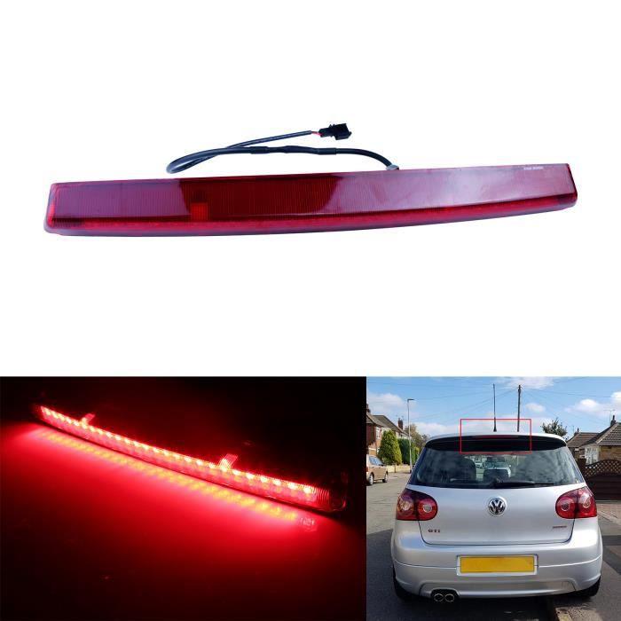 ANGRONG Rouge Lentille LED Feu de Stop Supplémentaire Arriere Feux de freinage Pour VW Golf 5 GTI R32 Polo 9N Passat Variant R36