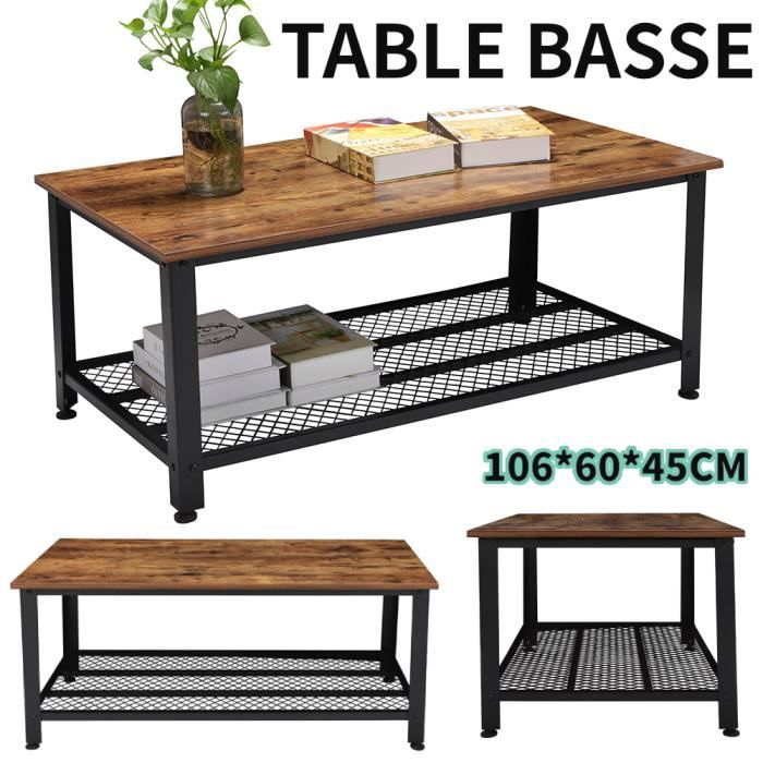 Table Basse Industrielle Table de Salon Style Vintage, Industriel, Veinure du MDF et Armature de Métal -106*60*45CM -FOE