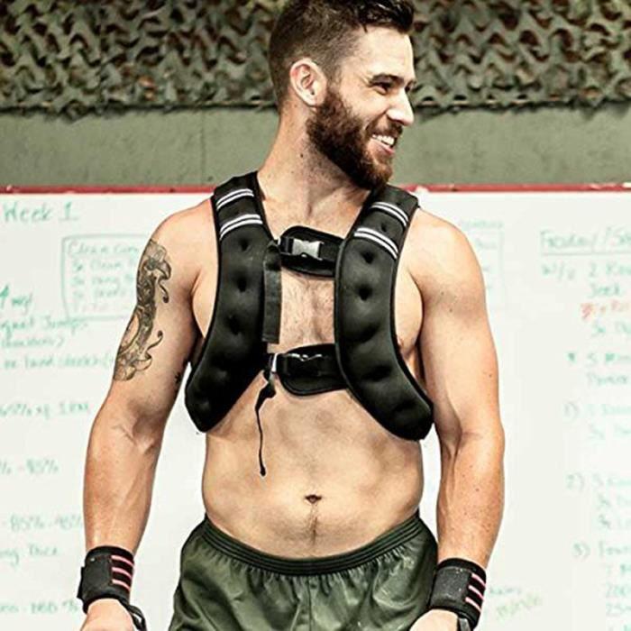 Gilet de Musculation de Fitness Lesté 10kg Ajustable Exercices d'entraînement