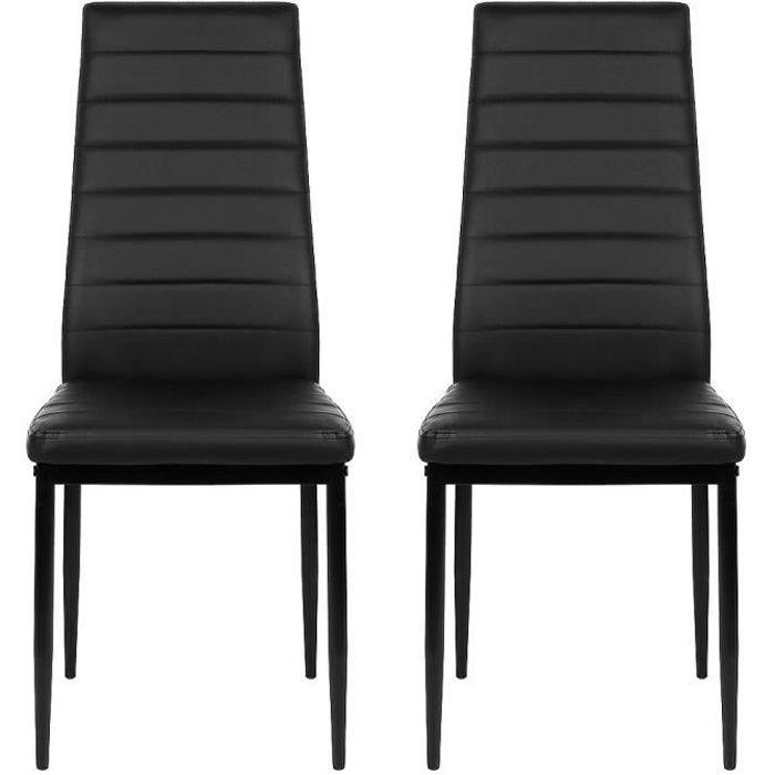 Lot de 6 Chaises de salle à manger 6 pcs Cuir artificiel Chaises au Design Moderne Noir