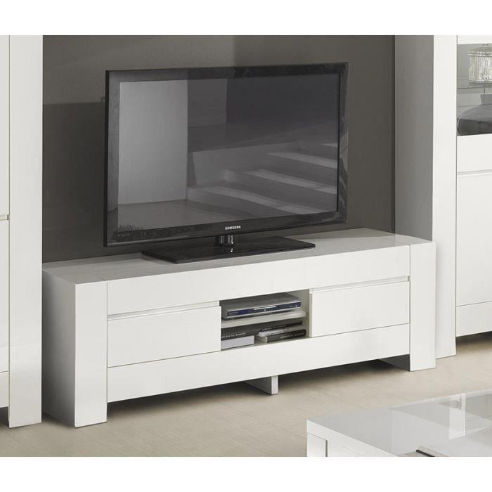 Meuble TV 2 portes blanc laqué design FLAVIE L 210 cm L 210 x P 48 x H 55 cm Blanc