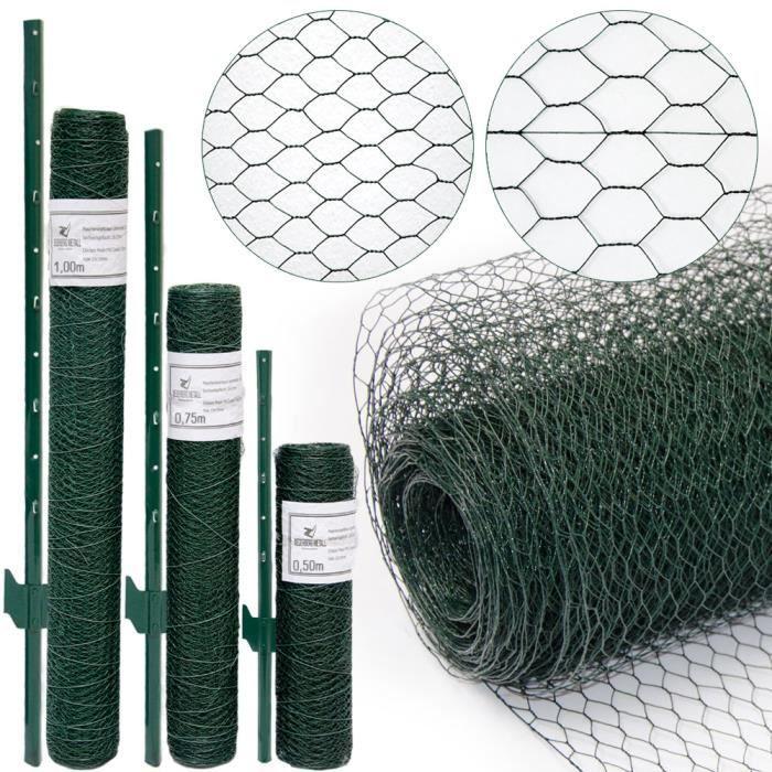 Grillage à mailles hexagonales + Poteaux - Rouleau de 5m - Hauteur 0,5m - Maillage 13x13mm - Incl 4 Poteaux 80cm de haut - Grilla...