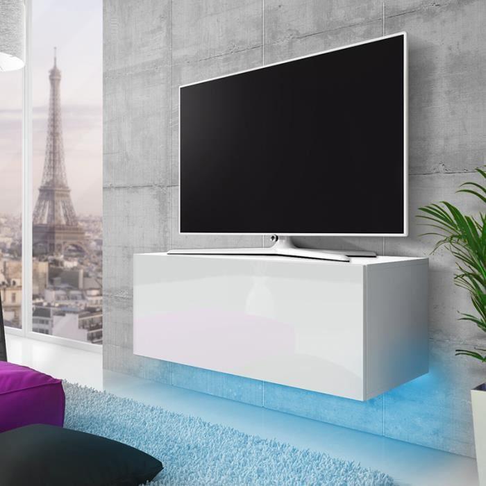 Meuble TV / Meuble de salon suspendu - LANA - 100 cm - blanc mat / blanc brillant - éclairage RBG multicolore - style moderne
