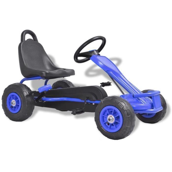 Vélo et véhicule Karting Go-Kart à pédales cadeau enfant noel - Convient pour 3 à 8 anss avec pneus Bleu