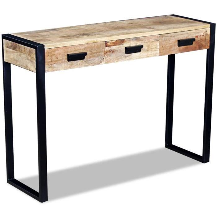 Table Console - style industriel - Bois de manguier 110 x 35 x 78 cm cm pour Entrée, Salon, Chambre, Vintage HB055