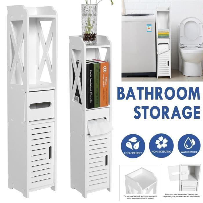 Colonne de salle de bain L 80 cm - Blanc - 80 x 15.5 x 15 cm (LxPxH) -HB065