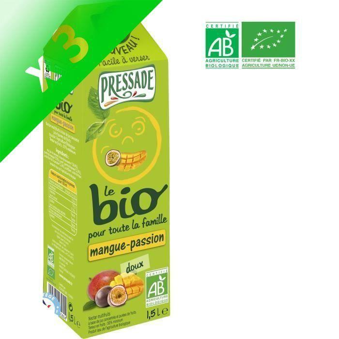 PRESSADE Nectar de mangue passion Bio (Lot de 3x 1,5 L)