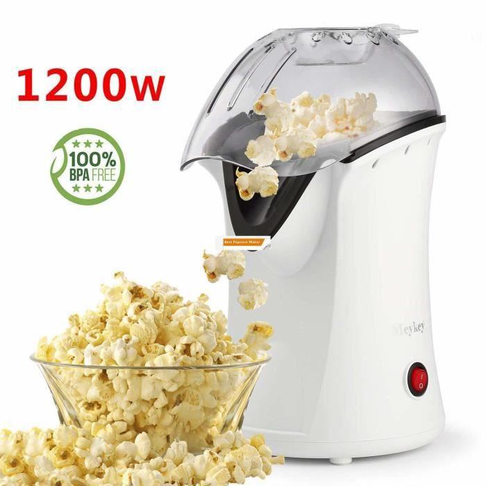 MEYKEY Machine à pop-corn Électrique 1200W Modèle BH9801 - Air Chaud - EU Prise / Blanc