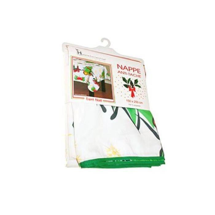 Nappe de Noel ronde 180cm blanche + motifs de Noel