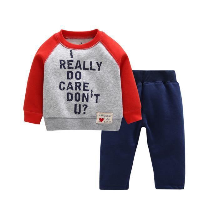 marioyuzhang Tout-petits enfants Bébés garçons Lettre fille Tops imprimés chauds Pantalons Survêtement Tenues Set rouge