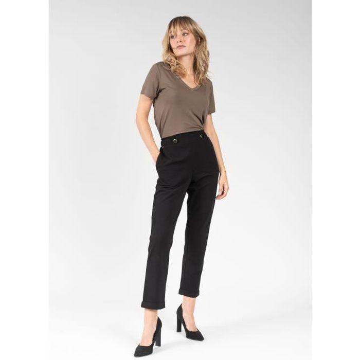 DEELUXE Pantalon habillé taille haute FANETTE Black