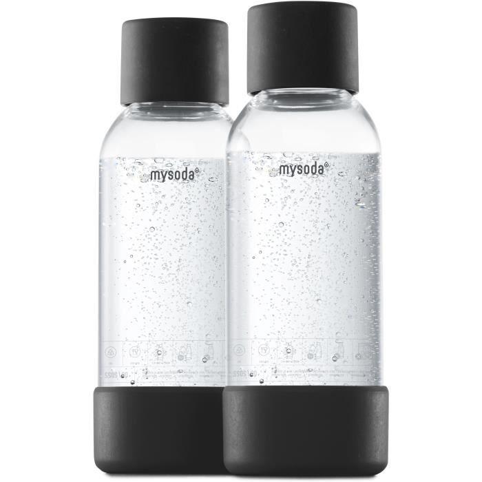 MYSODA - Pack de 2 bouteilles Black PET et Biocomposite 0,5L