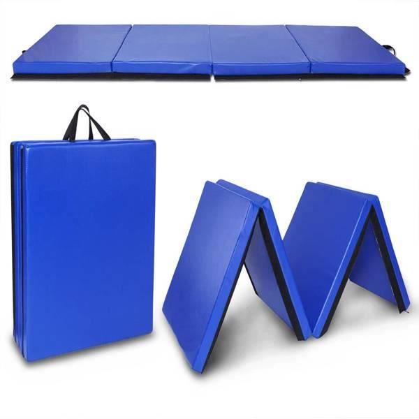Tapis de gymnastique pliable bleu 240*60*5cm - Tapis d'exercice pliant à 4 panneaux - Tapis de sol fitness
